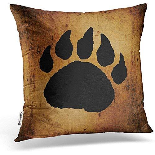Kussenslopen Vintage Lovely Black Bear Paw Print Square Hidden Zipper Chair Home Tiro kussen kussen bank polyester decoratie cadeau standaard 45 x 45 cm