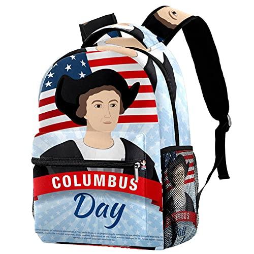 Staroutah zaino bookbag daypack borsa da scuola escursionismo Zaino per laptop casual Alta capacità e outdoor Imparasfondo alla moda di Columbus Day per donne e uomini