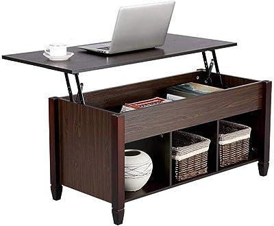 Modern Wood Lift-Top Coffee Table, Living Room Office Desk w/Hidden Storage, Lift Tabletop Cocktail Table, Black Walnut