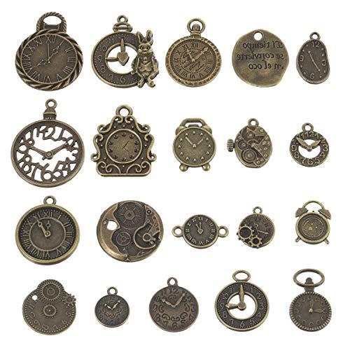 MILISTEN Colgante de Esfera de Reloj Antiguo Engranaje Mixto Colgante de Dijes Steampunk DIY para Collar Pulsera Fabricación de Joyas Y Manualidades Suministros 40 Piezas