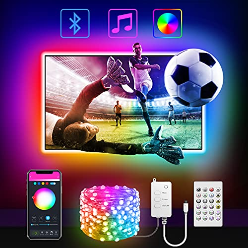Cadena de luces LED de 3 m, para TV de 40 a 60 pulgadas, decoración de sala de estar, para Decoración de Navidad Fiesta Boda Jardín aplicación Bluetooth, con mando a distancia
