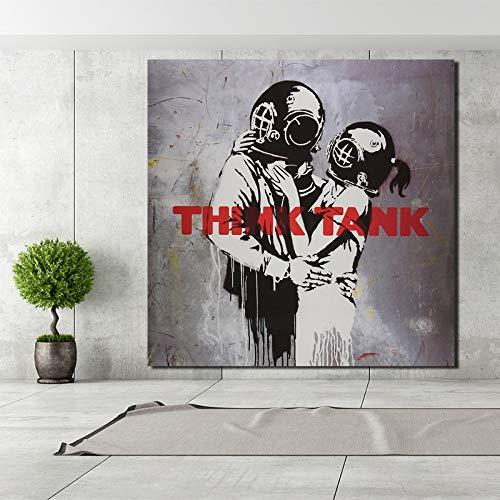 KWzEQ Cuadro en Lienzo de un Pintor Abrazando Amor Sala de Estar Pared decoración del hogar Moderno Arte de la Pared Pintura al óleo,Pintura sin Marco,70x70cm