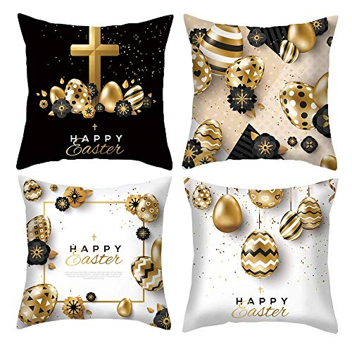 LISPLA Happy Easter Pillow Covers 18x18 Inches Gold Egg Throw Pillowcases Set of 4 Decorative Cushion Covers for Home Sofa 20X20in