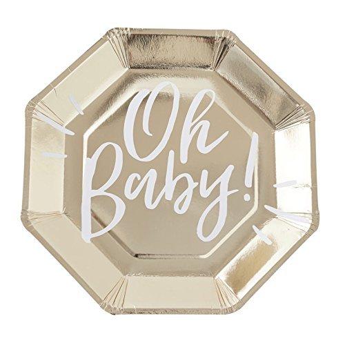 Party-Teller / Papp-Teller / Einweg-Teller / Einweg-Geschirr Oh Baby in gold & weiß / Baby-Party / Baby-Shower-Party / Taufe & Geburt (24 Teller)
