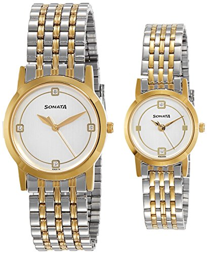 Sonata Titan unisex analógica de la pareja dorado/Blanco Dial reloj