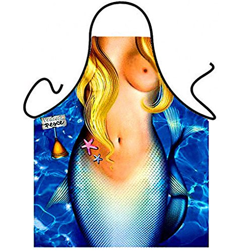 Luk Oil Memorecool Sexy Mermaid Creative Apron Fashion Personality Kitchen Aprons Funny Tricky Cooking Aprons for Male & Female Anime Cosplay Aprons Boyfriend/Girlfriend Gifts