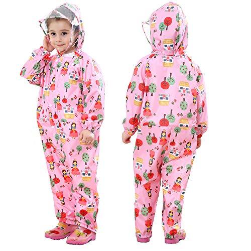 JinBei Bebé Niñas Impermeable Encapuchado Chubasqueros Chaquetas Floral Rosa Capa de Lluvia Niña Mono de Bolsillo Poncho Pantalon Abrigos Impermeables Transpirable al Aire Libre 0-3 Años