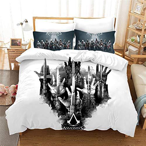 GD-SJK Juego de ropa de cama para niños Assassins Creed, ropa de cama 3D para niños y niñas, ropa de cama de 3 piezas, funda nórdica de microfibra con cremallera, juego (A16, 200 x 200 cm)