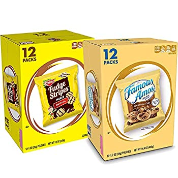 Keebler Fudge Stripes Minis & Famous Amos Cookies Chocolate Chip 24 Count