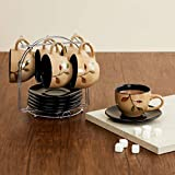 Home Centre Caraway Textured 12-Pc. Cup and Saucer Set with Metal Stand