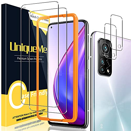 [2+2 Pack] UniqueMe Compatible con Xiaomi Mi 10T 5G / Mi 10T Pro 5G Protector de Pantalla y Protector de Lente de cámara, Vidrio Templado [9H Dureza] HD Film Cristal Templado