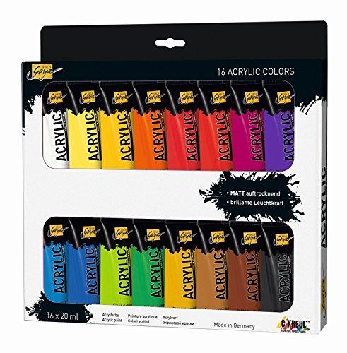 Kreul 84172 - Solo Goya Acrylic im Set, cremige vielseitig einsetzbare Acrylfarbe in Studienqualität, auf Wasserbasis, schnell und matt trocknend, gut deckend, wasserfest, 16 Farben je 20 ml
