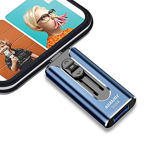 USB 3.0 Flash Drives 512GB, AUAMOZ Memory Drive 512GB Photo Stick Compatible with Smart Phone & Computers, Phone External Flash Expandable Photo Storage Drive, Take More Photos & Videos (Sea Blue)