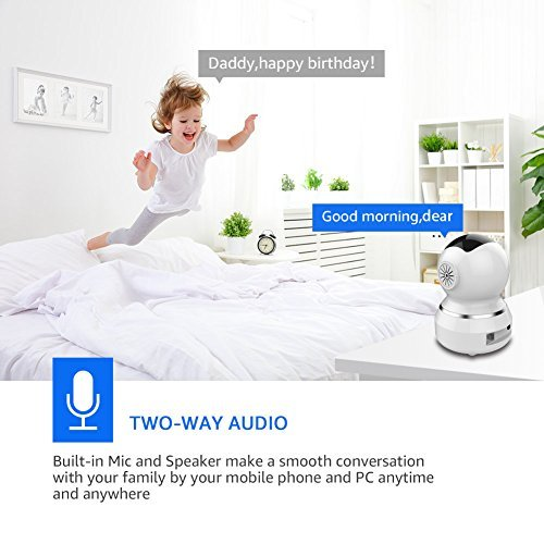 WONNIE Wireless Camera, 1080P HD Security Monitor 2.4G WiFi IP Camera Motion Detection Night Vision for Baby/Elder/Pet, Two-Way Audio Cloud Service Available Webcam White