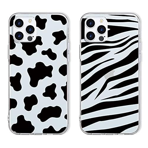 Yoedge 2 Piezas para Apple iPhone 6 Plus / 6s Plus Funda,Silicona Transparente Ultra Delgada TPU Carcasa con Cartoon Dibujos,Antigolpes Bumper Protección Case para iPhone 6s Plus 5,5',Vacas & Cebra