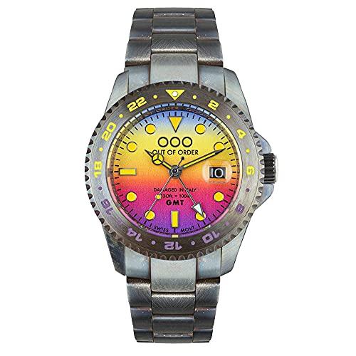 Out of Order GMT LOS Angeles Acero Swiss Cuarzo Azul Amarillo Violeta Envejecido Fecha Reloj Hombre
