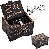 WUWEOT Music Box Hand Crank Musical Box, U R My Sunshine Mechanism Antique Vintage Wood Carved Musical Box Crafts Gifts for Valentine's/Birthday/Mother's Day/Kid Toys (Black- You are My Sunshine)