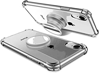 iPhone XR Clear Case with Stand Premium Soft TPU Protective Shockproof Case with Kickstand Grip Iron Mirror Fit Car Mount (Clear)