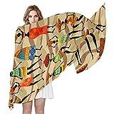 QMIN - Bufanda de seda para mujer africana, patrón de chevron, a la moda, larga, ligera, chal organizado, bufandas, silenciador para mujeres y niñas