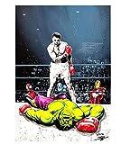 shjklb Rompecabezas de 1000 Piezas Muhammad Ali Vs Hulk en la Pared, Carteles de Boxeo, para cartón, Juguetes para Adultos, Juego de descompresión (38x26 cm)