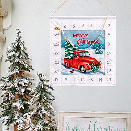 hogardeck Advent Calendar 2020 with 24 Pockets 14 1/2IN Wall Hanging Bag Indoor/Outdoor Wall Decor Countdown to Christmas Decoration