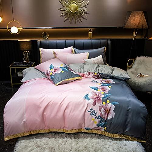 Funda De EdredóN 90,Juego de cuatro piezas de seda de lavado de agua de verano, fresco, amigable con la piel, cama doble doble, un solo edredón especial, casado, cumpleaños, regalos de cama de vacaci