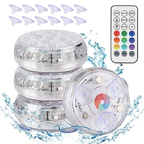 Sanfant Poolbeleuchtung Unterwasser, Magnetisch Wasserdichtes Unterwasser Licht, 13 LEDs RGB Farbwechsel, Unterwasser LED mit RF-Fernbedienung für Vasenbasis, Teich, Aquarium, Inneneinrichtung(4Stk)