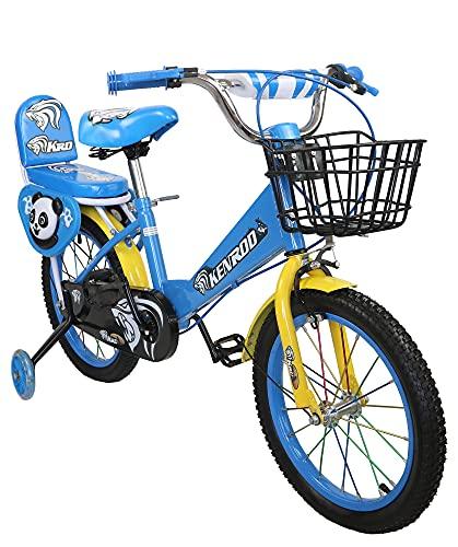 KEN ROD Bicicletta per Bambini con Ruote   Bicicletta Bambini da 3 a 9 Anni   Bicicletta con Ruote   Biciclette con Cestino e Ruote   Colore: blu 12 pollici