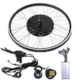 Kit de conversión de bicicleta eléctrica de bicicleta de montaña de 48V 1500W con motor Medidor de rueda de 26 pulgadas KT-LCD5, puede rastrear datos(volante de casete de accionamiento trasero)