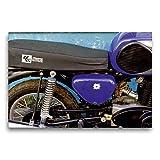 Premium Textil-Leinwand 75 x 50 cm Quer-Format Motorrad der Marke MZ aus der DDR | Wandbild, HD-Bild auf Keilrahmen, Fertigbild auf hochwertigem Vlies,...