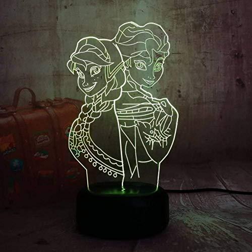 3D Led Night Light Girl Princess Gift Cartoon Figure Bulding Desk Table Lamp Flash Gadget Decor Bedroom For Kids Gift