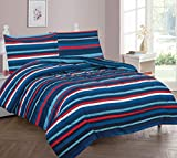 GorgeousHomeLinen Kids 5pc Navy Blue Red Striped Twin Bed in Bag Comforter with Matching Sheet Set