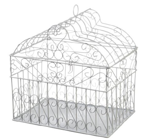 DariceVictoria Lynn Metal Birdcage Card Holder - White - 10 x 10 x 7.5