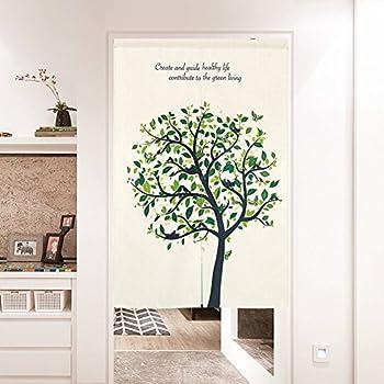 BAIHT HOME Cotton Linen Japanese Noren Doorway Curtain Tapestry with Summer Mood Screen Door Blind 33.5  Width x 47.2  Long