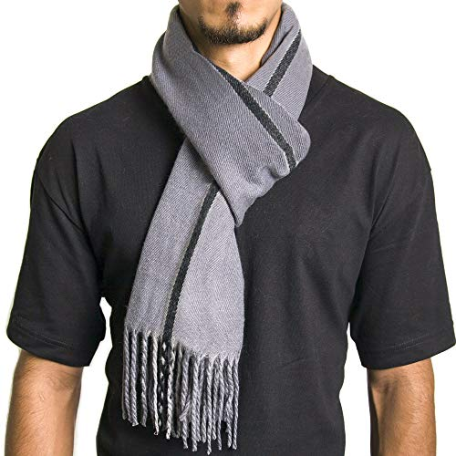 Alpine Swiss Mens Plaid Scarf Soft Winter Scarves Unisex,Gray Stripe,One Size