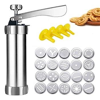 Cookie Press Gun,Stainless Steel Biscuit Press Cookie Gun Set with 20 Cookie Discs and 4 Nozzles