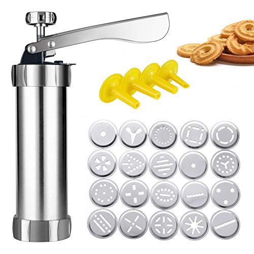 Cookie Press Gun,Cookie Press Stainless Steel Biscuit Press Cookie Gun Set with 20 Cookie discs and 4 nozzles for DIY Biscuit Maker and Decoration