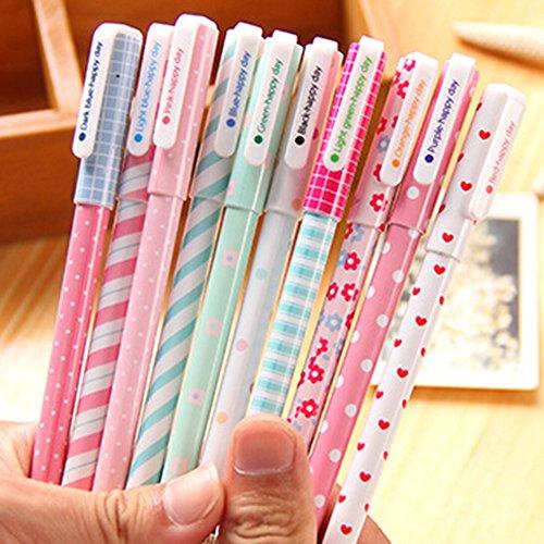 Bluelans 10pcs Fashion Color Cut Cartoon Gel Ink Pens Stationery Watercolor Pen Set Students Gift