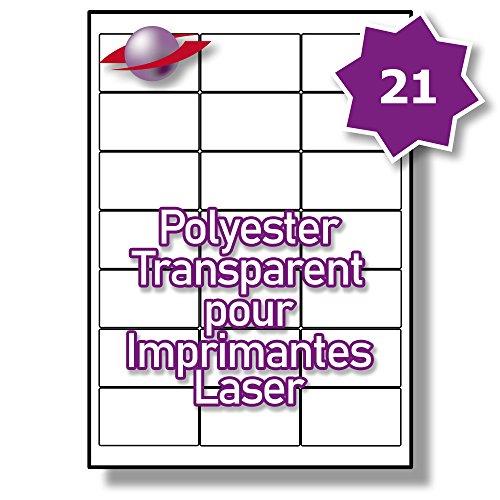 21 Par Feuille, 250 Feuilles, 5250 Étiquettes. Label Planet® Étiquettes en Polyester Transparent A4 pour Imprimantes Laser 63.5 x 38.1mm, LP21/63 GTP.