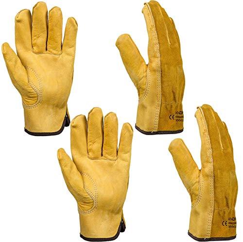 Heavy Duty Gardening Gloves, Xndryan 2 Pairs Breathable and Flexible Garden Work Gloves for Men & Women, Durable Leather Safety Work Gloves for Garden, Yard, Mechanic, Welding (Medium)