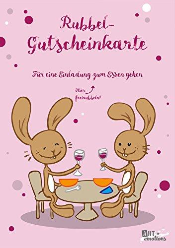 ART + emotions Rubbel- Gutscheinkarte - für EIN Einladung zum Essen gehen- Überraschungskarte Gutschein Kratzkarte Wunschkarte