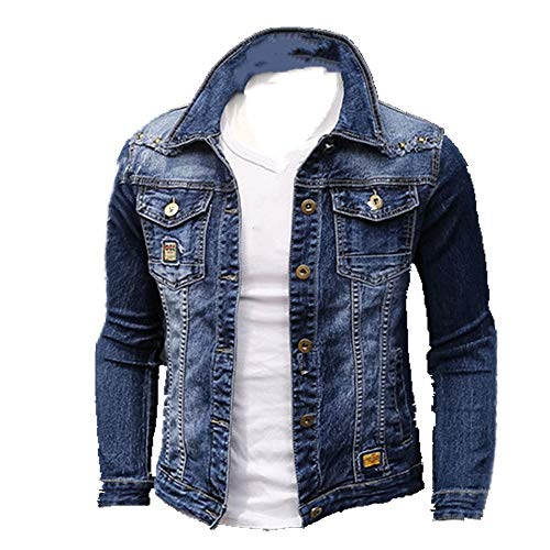NOBRAND Frühling Herbst Mode Herren Jeansjacken Mäntel Männer Baumwolljacke Herren Jeansjacke Outwear Männlich Cowboy Gr. XXXL, blau