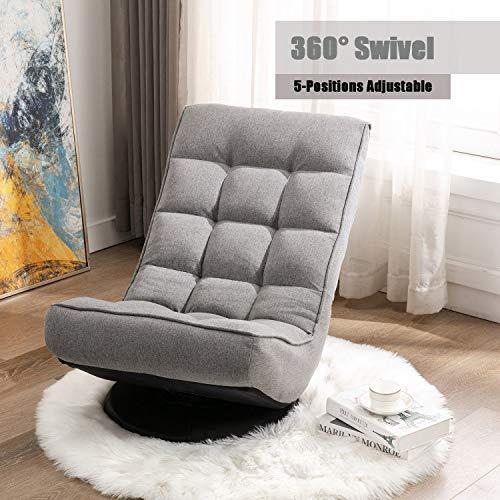 Altrobene Fabric Floor Gaming Chair, High Back Lazy Sofa Sleeper for Game Recreation Room, 360 Degree Swivel, Soft Padded, Grey