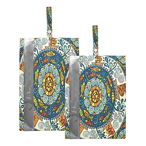 F17 Bolsas de viaje para zapatos étnicos con mandala, flores, peces y mares, bolsa de almacenamiento, impermeable, portátil, ligera, bolsa de almacenamiento para hombres y mujeres, 2 unidades
