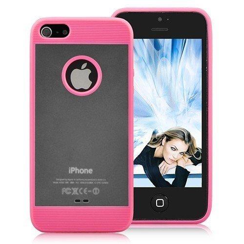 transparent translucide de couverture de silicone de téléphone portable Housse de protection de couverture de cas de Shell Case Apple iPhone 5 rose élégance moderne