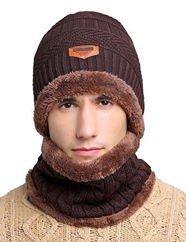 Closoul Direct Cappello Cappellini Uomo Invernali Berretto Uomo in Maglia con Sciarpa Blu