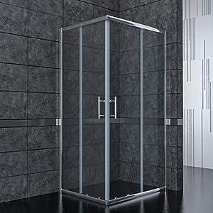 SONNI Mampara de Ducha Angular Puertas Corredera 100x100cm,Puertas de Ducha Apertura Central con Vidrio Templado de Seguridad 5mm
