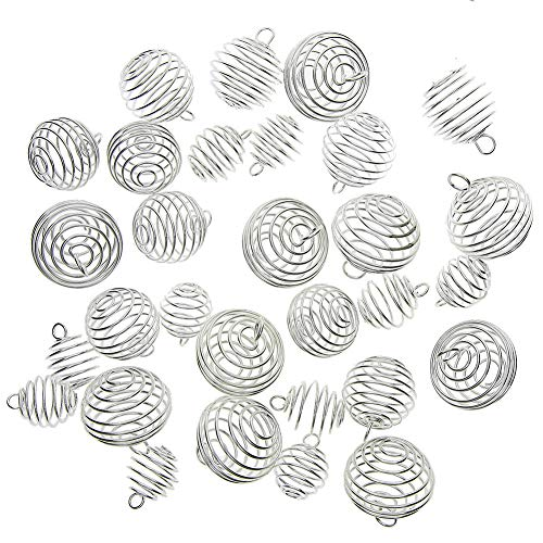 Juanya 30 Pieces Silver Plated Spiral Bead Cages Pendants for Jewelry Making, 3 Sizes