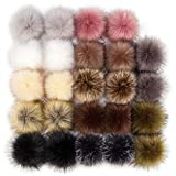 24 Pieces Faux Fur Pom Pom Balls Fur Fluffy Pompom Ball with Elastic Loop for Hats Shoes Scarves Gloves Scarves Bag Key Chain Charms Accessories (12 Pairs) (Mixed Color)