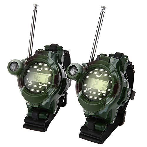 SDTLE 2 Piezas brújula portátil al Aire Libre 7 en 1 Walkie Talkie Estilo de Camuflaje con espéculo de luz Nocturna para Acampar Senderismo Herramientas al Aire Libre, Verde